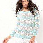 mavi beyaz triko bluz