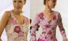 Tığ İşi Gül ve Çiçek Motifli Bluz Modelleri