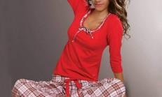 Bayan Ekoseli Pijama Modelleri