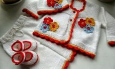 Tığ İşi Çiçek Motifli Bebek Takımı