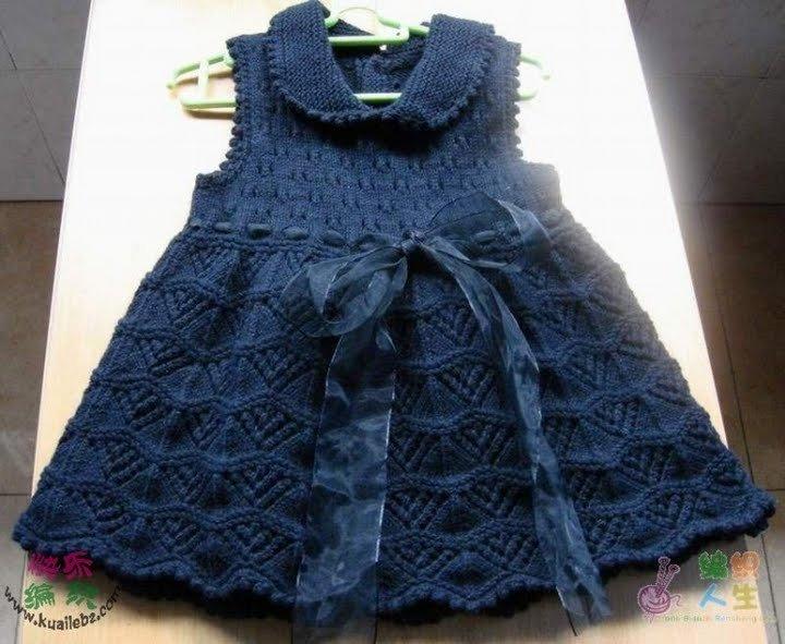 Kız Çocuğu Örgü Elbise Yapımı Örgü Şemalı